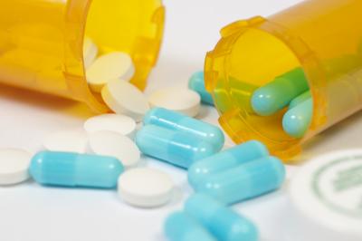 Generic prescription medicine on whtie
